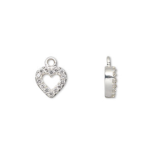 charm, sterling silver and cubic zirconia, clear, 12x9mm open heart. sold individually.