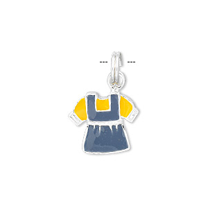 charm, sterling silver and enamel, blue and yellow, 18x15mm dress. sold individually.