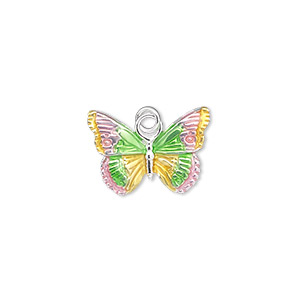 charm, sterling silver and enamel, pink / yellow / green, 18x13mm single-sided butterfly. sold individually.