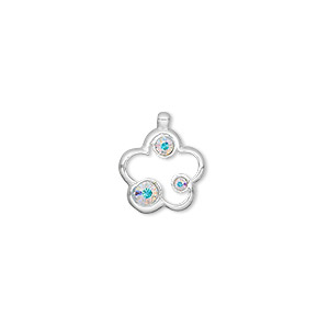 charm, sterling silver and swarovski crystals, clear ab, 13x12mm open flower. sold individually.