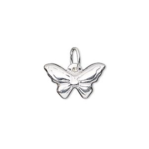 charm, sterling silver-filled, 18x11mm double-sided butterfly with closed jumpring. sold individually.