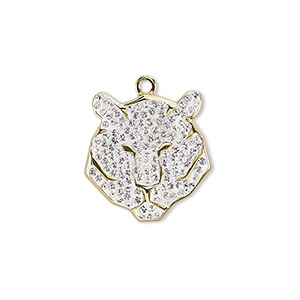 charm, swarovski crystal / epoxy / gold-plated brass, crystal clear, 16x15mm pave tiger pendant (67511). sold per pkg of 6.