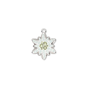 charm, swarovski crystals / rhodium-plated brass / epoxy, crystal passions, white opal / jonquil / white, 14x12mm pave edelweiss pendant (67442). sold individually.