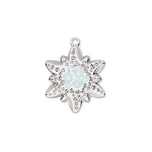 charm, swarovski crystals / rhodium-plated brass / epoxy, crystal passions, white opal / crystal clear / white, 20x17mm pave edelweiss pendant (67442). sold individually.