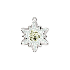 charm, swarovski crystals / rhodium-plated brass / epoxy, white opal / jonquil / white, 20x17mm pave edelweiss pendant (67442). sold per pkg of 6.