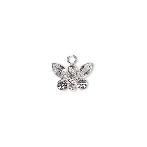 charm, swarovski crystals and sterling silver, crystal clear, 12x8mm butterfly. sold individually.