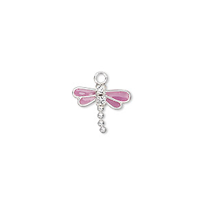 charm, swarovski crystals and sterling silver, crystal clear with purple enamel, 13x11mm dragonfly. sold per pkg of 2.