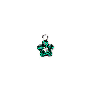 charm, swarovski crystals and sterling silver, emerald, 8x8mm flower. sold per pkg of 2.