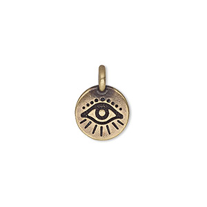 charm, tierracast, antique bass-plated pewter (tin-based alloy), 12mm single-sided round with wards off the evil eye design. sold individually.