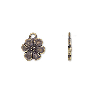 charm, tierracast, antique brass-plated pewter (tin-based alloy), 14x14mm double-sided flower. sold individually.