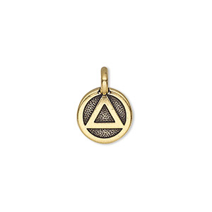 charm, tierracast, antique gold-plated pewter (tin-based alloy), 12mm single-sided round with recovery symbol. sold individually.