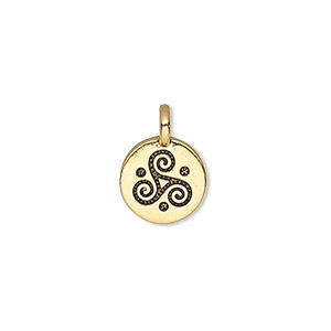 charm, tierracast, antique gold-plated pewter (tin-based alloy), 12mm single-sided round with triskele. sold individually.