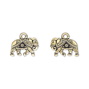 charm, tierracast, antique gold-plated pewter (tin-based alloy), 14x9.5mm double-sided gita elephant. sold individually.
