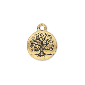 charm, tierracast, antique gold-plated pewter (tin-based alloy), 15.5mm double-sided flat round with tree of life. sold individually.