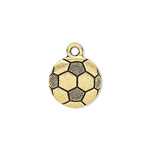 charm, tierracast, antique gold-plated pewter (tin-based alloy), 15mm double-sided textured soccer ball. sold individually.