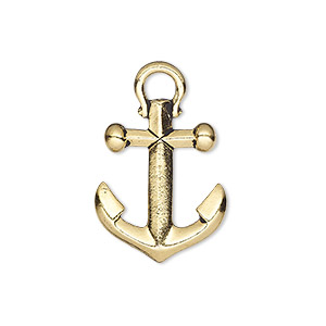 charm, tierracast, antique gold-plated pewter (tin-based alloy), 22x18mm 3d anchor. sold individually.