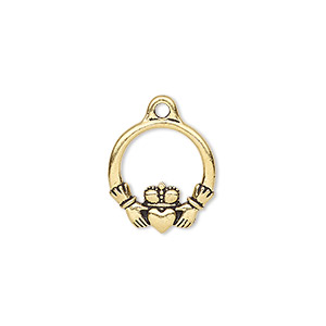charm, tierracast, antique gold-plated pewter (zinc-based alloy), 16x14.5mm double-sided claddagh. sold per pkg of 2.