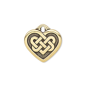 charm, tierracast, antique gold-plated pewter (zinc-based alloy), 19x17mm double-sided heart with celtic knot. sold individually.