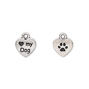 charm, tierracast, antique silver-plated pewter (tin-based alloy), 10x10mm double-sided heart with love my dog and paw print. sold per pkg of 2.