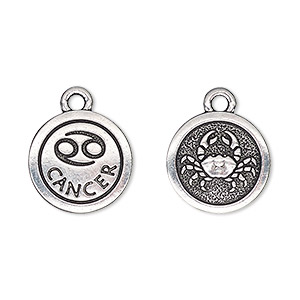 charm, tierracast, antique silver-plated pewter (tin-based alloy), 15mm two-sided flat round with cancer zodiac sign and symbol. sold individually.