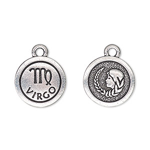 charm, tierracast, antique silver-plated pewter (tin-based alloy), 15mm two-sided flat round with virgo zodiac sign and symbol. sold individually.