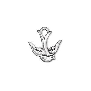 charm, tierracast, antique silver-plated pewter (tin-based alloy), 16.5x15.5mm double-sided swallow. sold per pkg of 2.