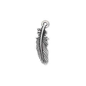charm, tierracast, antique silver-plated pewter (tin-based alloy), 20x7.5mm double-sided feather. sold individually.