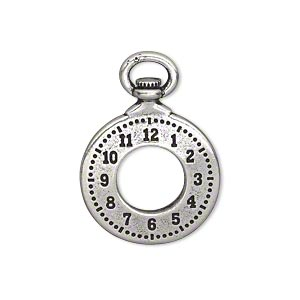 charm, tierracast, antique silver-plated pewter (tin-based alloy), 29x20.5mm double-sided pocket watch with 9.5mm hole. sold individually.