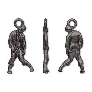 charm, tierracast, black-plated pewter (tin-based alloy), 24x12.5mm 3d zombie. sold individually.