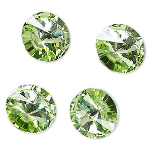 chaton, celestial crystal rhinestone, peridot green, foil back, 16mm faceted rivoli. sold per pkg of 4.