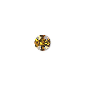 chaton, glass rhinestone, amber yellow, foil back, 7.93-8.16mm faceted round, ss38. sold per pkg of 12.