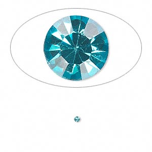 chaton, glass rhinestone, aqua blue, foil back, 1.6-1.7mm faceted round, pp10. sold per pkg of 72.