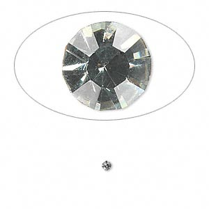 chaton, glass rhinestone, black diamond, foil back, 1.9-2.0mm faceted round, pp13. sold per pkg of 72.