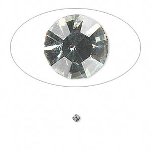 chaton, glass rhinestone, black diamond, foil back, 2.0-2.1mm faceted round, pp14. sold per pkg of 72.