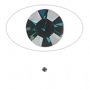 chaton, glass rhinestone, capri blue, foil back, 2.1-2.2mm faceted round, pp15. sold per pkg of 72.