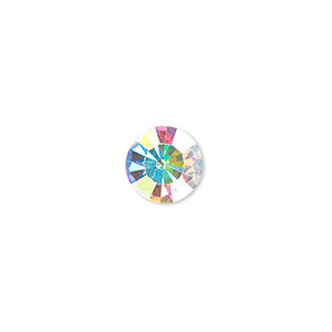 chaton, glass rhinestone, crystal ab, foil back, 9.9-10.2mm faceted round, ss45. sold per pkg of 4.