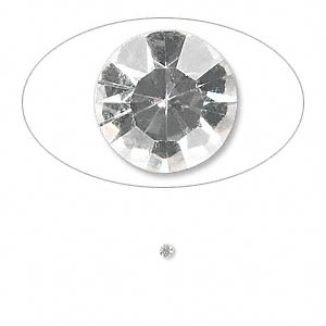 chaton, glass rhinestone, crystal clear, foil back, 1.8-1.9mm faceted round, pp12. sold per pkg of 72.