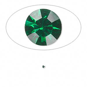 chaton, glass rhinestone, emerald green, foil back, 1.3-1.35mm faceted round, pp6. sold per pkg of 72.