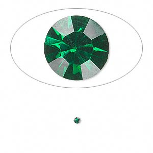 chaton, glass rhinestone, emerald green, foil back, 1.7-1.8mm faceted round, pp11. sold per pkg of 72.