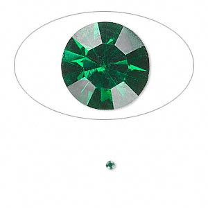 chaton, glass rhinestone, emerald green, foil back, 1.8-1.9mm faceted round, pp12. sold per pkg of 72.