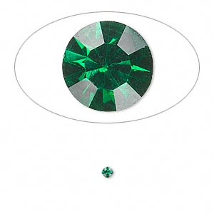 chaton, glass rhinestone, emerald green, foil back, 2.1-2.2mm faceted round, pp15. sold per pkg of 72.