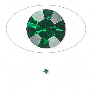 chaton, glass rhinestone, emerald green, foil back, 2.2-2.3mm faceted round, pp16. sold per pkg of 72.