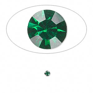 chaton, glass rhinestone, emerald green, foil back, 2.4-2.5mm faceted round, pp18. sold per pkg of 72.