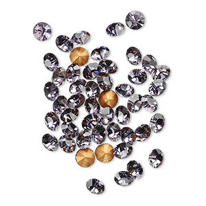chaton, glass rhinestone, lavender, foil back, 4-4.1mm faceted round, pp32. sold per pkg of 48.