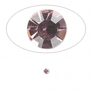chaton, glass rhinestone, light amethyst purple, foil back, 2.4-2.5mm faceted round, pp18. sold per pkg of 72.