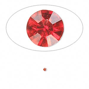 chaton, glass rhinestone, light siam, foil back, 1.4-1.5mm faceted round, pp8. sold per pkg of 72.