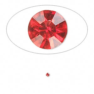 chaton, glass rhinestone, light siam, foil back, 1.6-1.7mm faceted round, pp10. sold per pkg of 72.