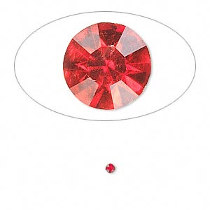 chaton, glass rhinestone, light siam, foil back, 1.9-2.0mm faceted round, pp13. sold per pkg of 72.