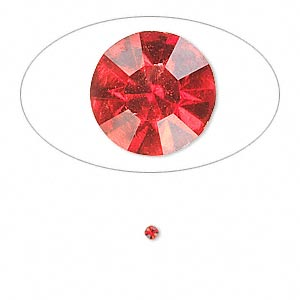 chaton, glass rhinestone, light siam, foil back, 2.0-2.1mm faceted round, pp14. sold per pkg of 72.