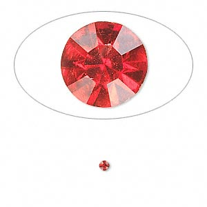 chaton, glass rhinestone, light siam, foil back, 2.1-2.2mm faceted round, pp15. sold per pkg of 72.